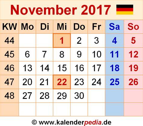 Kalender November 2017 Als Word Vorlagen