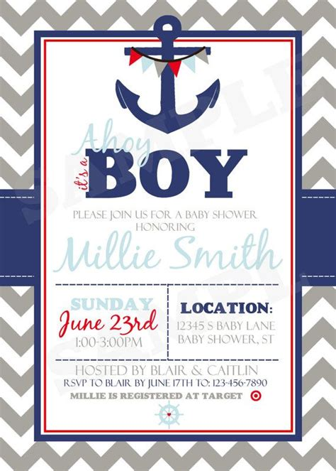 Nautical Baby Shower Invitation Printable Sailor Baby Shower Printable Nautical Baby Shower Invitations Templates
