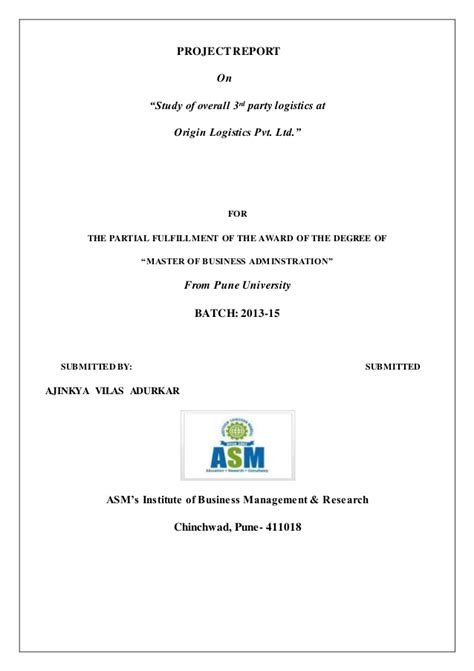Logistics Mba Project by Project Report On 3rd Logistics