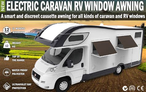 motorized rv awning electric caravan rv window awning remote 2m wide italian