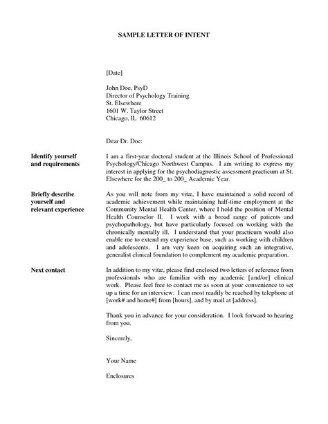 Letter Of Intent Postdoc How To Write A Letter Of Intent For College Admission