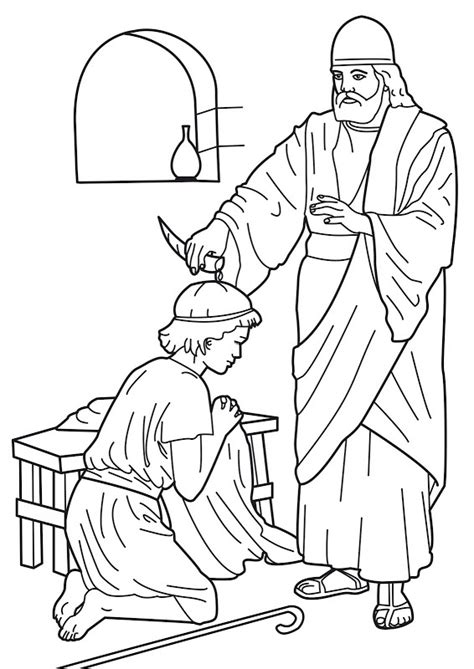 coloring pages about king david samuel anointing david king bible coloring pages bible