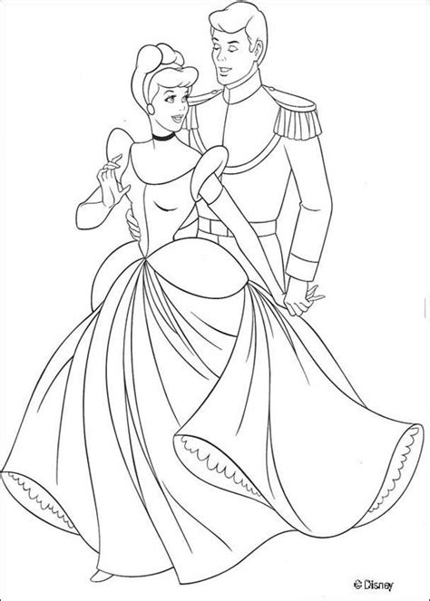 coloring pages of cinderella and prince charming cinderella and the prince coloring pages hellokids com