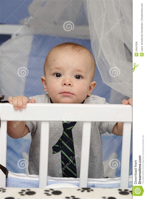 Baby In A Crib Royalty Free Stock Image Image 19447636 Baby Standing In Crib
