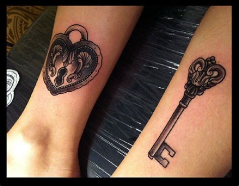matching lock and key tattoos
