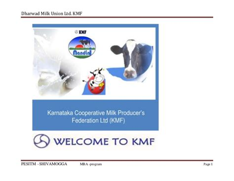 Union Mba Curriculum by Dharwad Milk Union Ltd Kmf Project