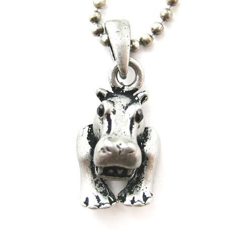 realistic and hippo animal charm pendant necklace in