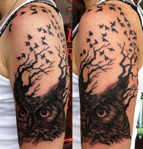 tattoo owl tree 52 owl tree tattoos ideas