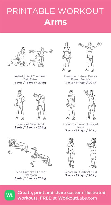 printable exercise program arms my custom exercise plan created at workoutlabs com