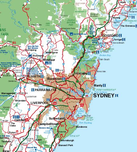 sydney map and sydney satellite image