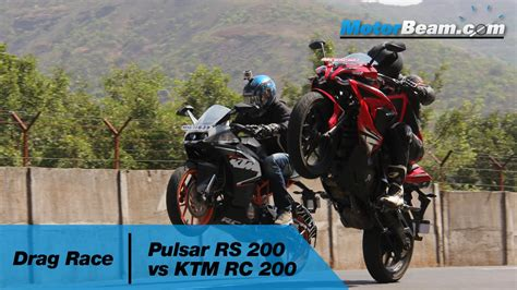 pulsar rs   ktm rc  drag race motorbeam youtube