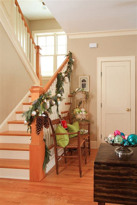 How To Make Rustic Christmas Decorations 23 Lovely Christmas Staircase Decorating Suggestions