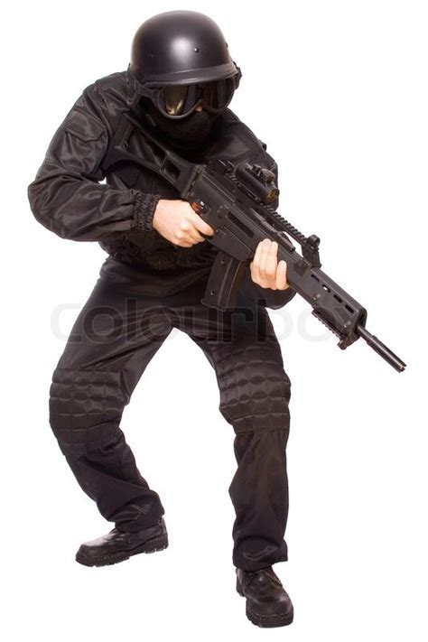 Swat White one soldier with the gun in the on a white background stock photo colourbox