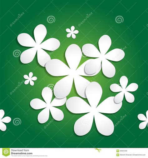 abstract pattern for project abstract 3d paper flower pattern on green background stock