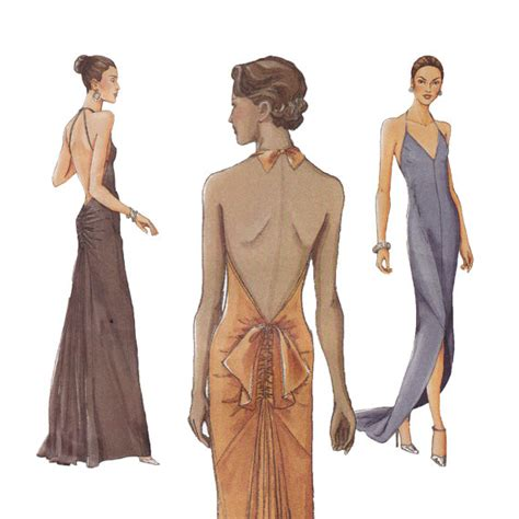 dress pattern evening wear backless evening dress sewing pattern vogue 7365 formal