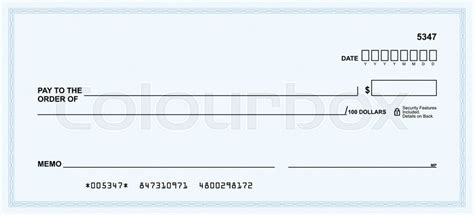 stock check form template template in vector the blank form of a bank check