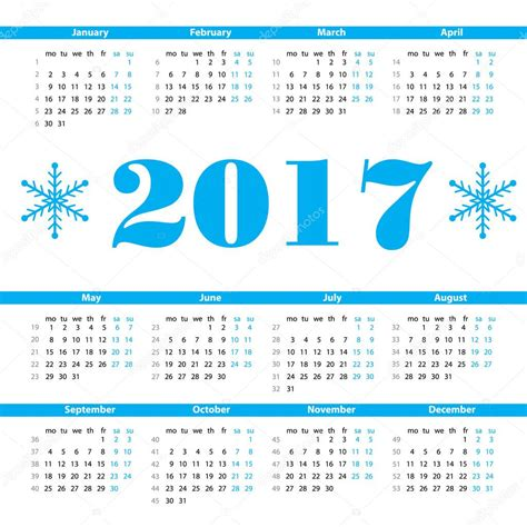 Semanas 2017 Calendario Modelo De Design Do Calend 225 2017 Ano Vetor N 250 Meros