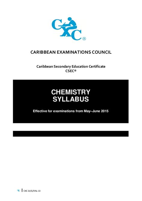 Csec Chemistry Syllabus 2015