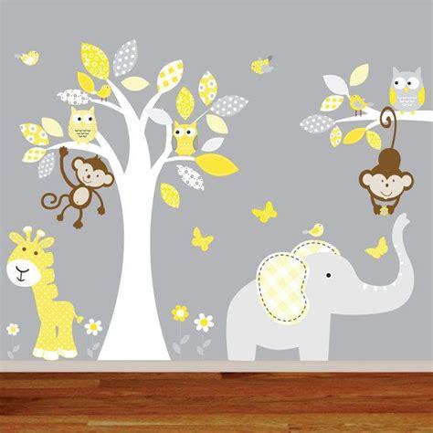 vinyl wall decal children jungle wall decal nursery tree owl bird elephant giraffe decal