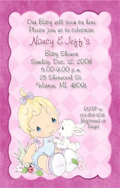 Precious Moments Baby Shower Invitations by Delicate Pink Precious Moments Baby Shower Invitations