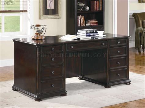 Classic Office Desk Rich Brown Finish Classic Office Desk W Optional Items