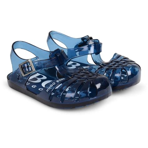 jelly sandals for infants baby boys blue jelly sandals with white logo