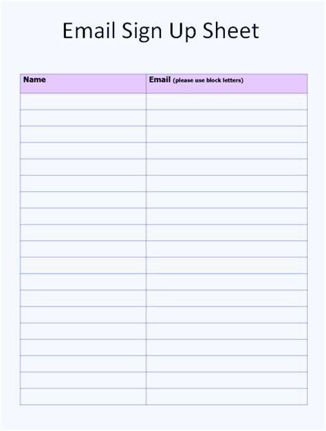 Free Sign Up Sheet Template Word Excel Email Sign Up Sheet Template