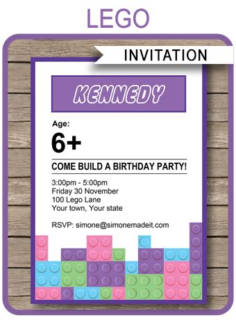 lego friends party invitations | birthday party | template
