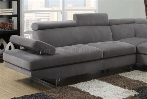 4015 sectional sofa in gray textured sateen fabric