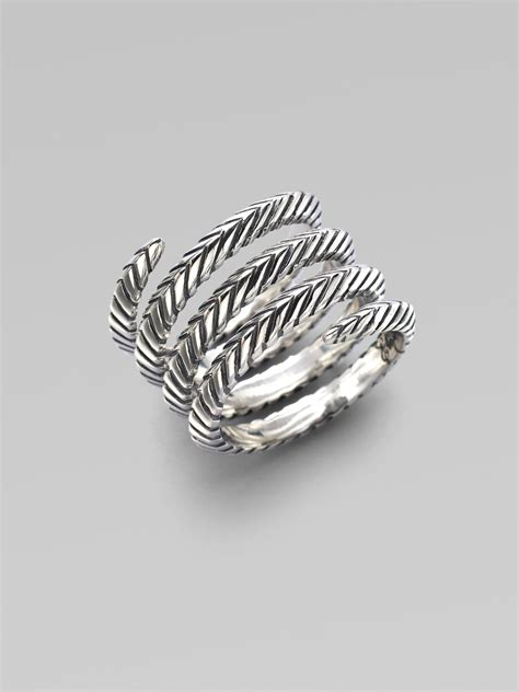 elizabeth and sterling silver spiral ring in silver