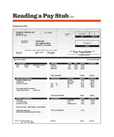 pay stub template sle pay stub template 24 free documents in