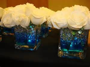Square Vases Centerpieces by Glowing Centerpiece For A Wedding Square Vase Filled With