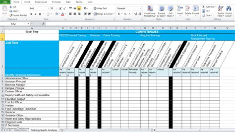 training needs analysis template free excel tmp
