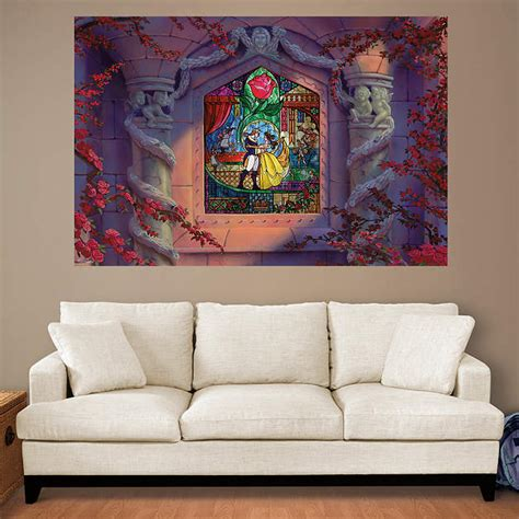 beauty and the beast home decor beauty and the beast stained glass mural wall decal shop