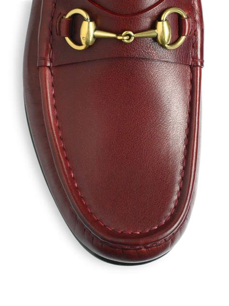 Slip On Gucci Maroon Ds lyst gucci roos 1953 horsebit loafers in brown for