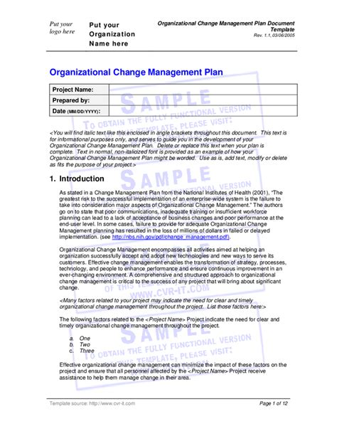 change management plan template organizational change management plan document template