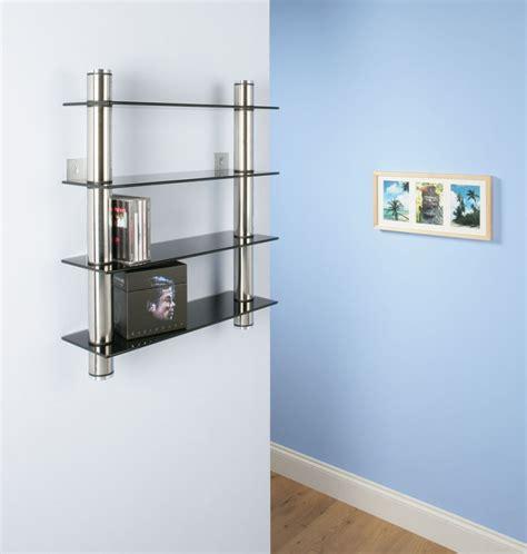 Wall Cd Shelf by Cd Rack Shelf Storage Black Glass Wall Mounted Ebay