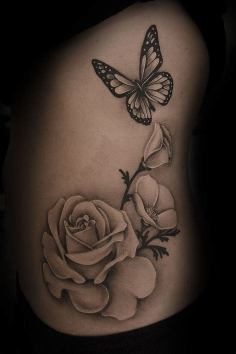tattoo rose and butterfly 18 best realistic black butterfly tattoos images on