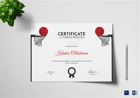 templates for netball certificates netball certificate template 4 word psd format