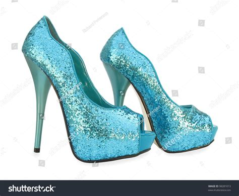 sparkling high heels blue open toe sparkling high heels shoes stock photo