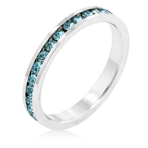 aqua cz stackable eternity ring birthstone size 8 white