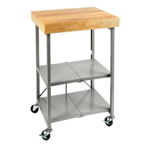 gray folding kitchen cart with butcher block