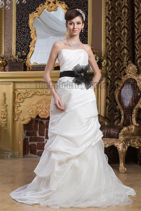 inspired strapless wedding dress with black belt