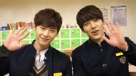 film korea lee jong suk dan kim woo bin school 2013 interview kim woo bin lee jong suk 학교 2013 w
