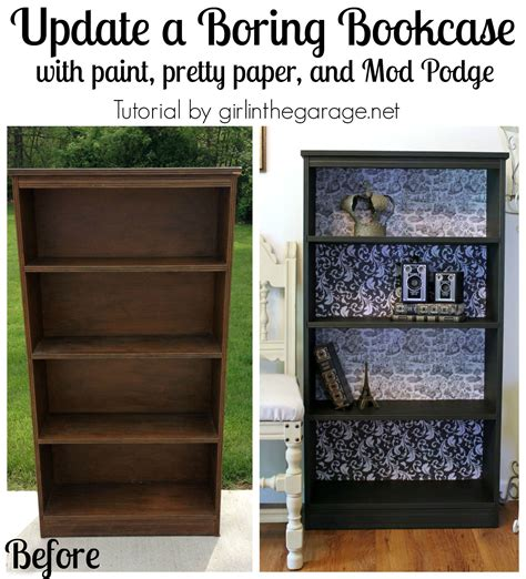 Decoupage Bookshelf - decoupage bookcase themed furniture makeover decoupage