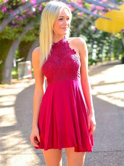 45189 Pink Halter Lace Blouse Blouse Pink Renda Hitam pink floral lace halter neck chiffon skater dress homecoming dress on luulla