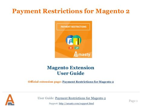 payment restrictions magento 2 extension by amasty user guide