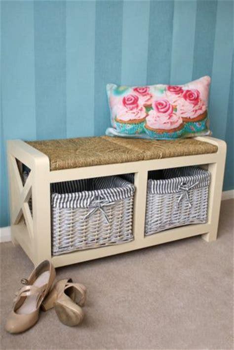Bedroom Bench Ebay Uk Wooden 2 Seater Storage Bench Seat Unit Wicker Baskets