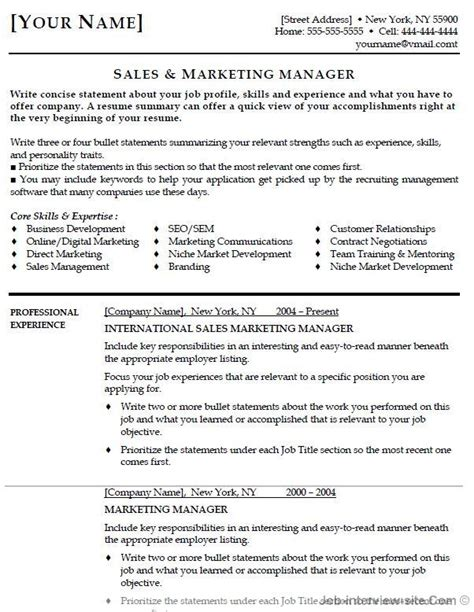 sales marketing resume objective