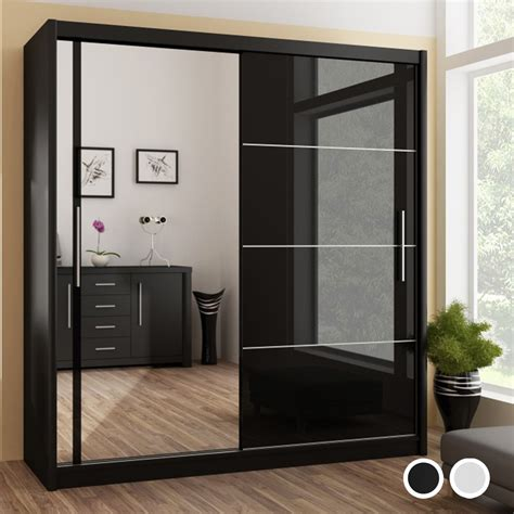 vista high gloss mirrored sliding door wardrobe black